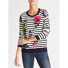 Buy Collection WEEKEND by John Lewis Floral Stripe Intarsia Jumper, Navy/White Online at johnlewis.com