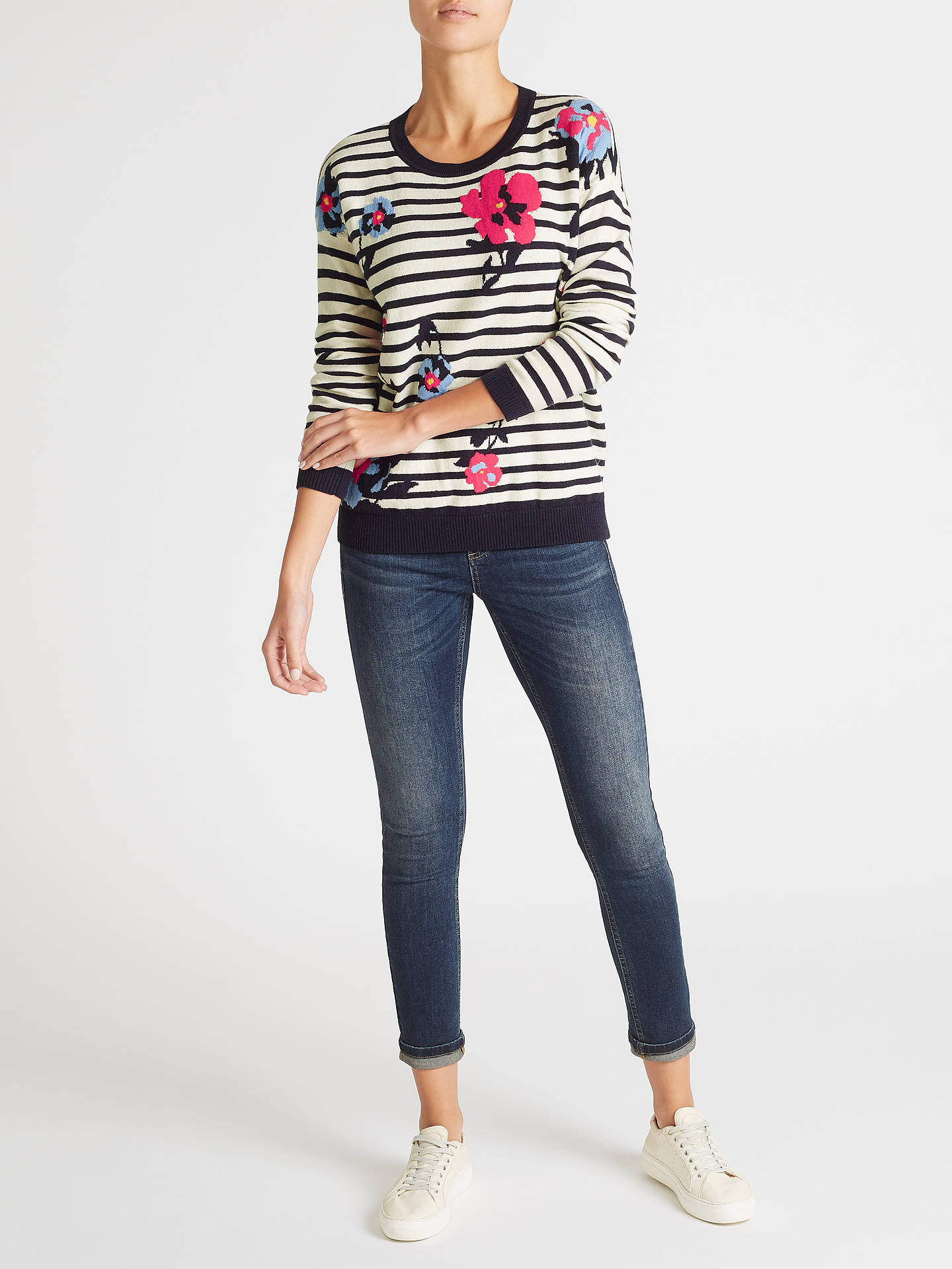 BuyCollection WEEKEND by John Lewis Floral Stripe Intarsia Jumper, Navy/White, 8 Online at johnlewis.com
