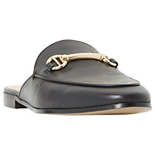 Buy Dune Gene Backless Loafers, Black Leather Online at johnlewis.com