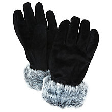 Buy John Lewis Suede Faux Fur Trim Thermal Gloves Online at johnlewis.com