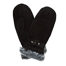 Buy John Lewis Fur Trim Thermal Suede Mittens, Black Online at johnlewis.com