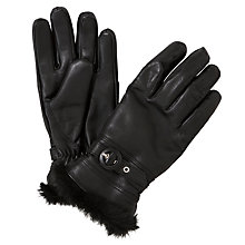 Buy John Lewis Fur Trim Thermal Leather Gloves, Black Online at johnlewis.com