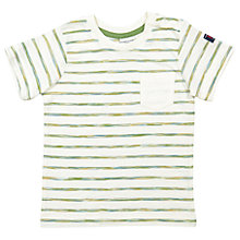 Buy Polarn O. Pyret Baby Brushed Striped T-Shirt, Cream Online at johnlewis.com