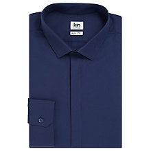 Buy Kin by John Lewis Horizontal Rib Slim Fit Shirt, Navy Online at johnlewis.com