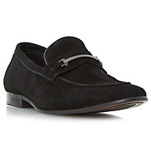 Buy Dune Pistol Suede Loafers, Black Online at johnlewis.com