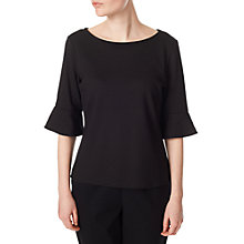 Buy Precis Petite Flute Sleeve Jersey Top, Black Online at johnlewis.com