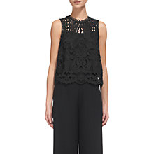 Buy Whistles Cutwork Lace Top, Black Online at johnlewis.com