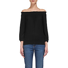 Buy Whistles Easy Bardot Linen Top, Black Online at johnlewis.com