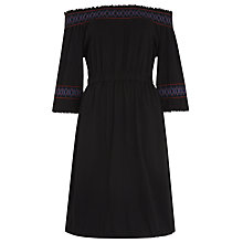 Buy Whistles Embroidered Jersey Dress, Black Online at johnlewis.com