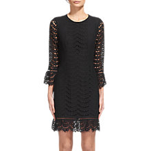 Buy Whistles Valentina Fluted Sleeve Dress, Black Online at johnlewis.com