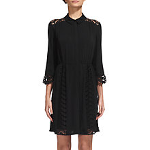 Buy Whistles Lizzie Lace Shirt Dress, Black Online at johnlewis.com