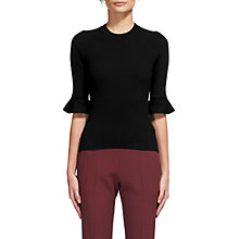 Buy Whistles Frill Cuff Knit Top, Black Online at johnlewis.com