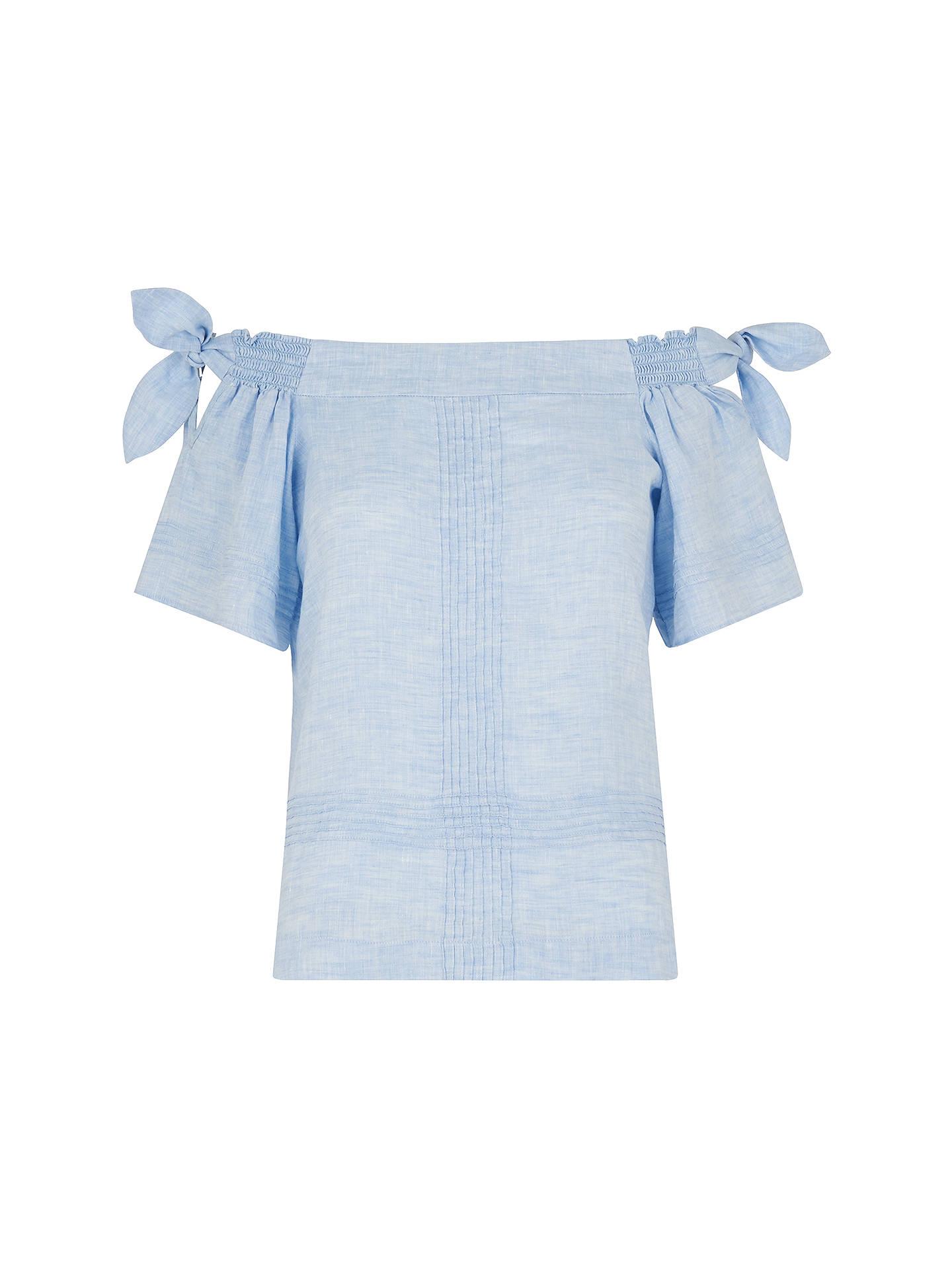 a3b85145fa038 Whistles Lila Tie Detail Linen Bardot Top at John Lewis   Partners