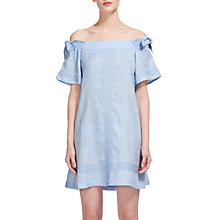 Buy Whistles Lila Tie Linen Bardot Dress, Blue Online at johnlewis.com