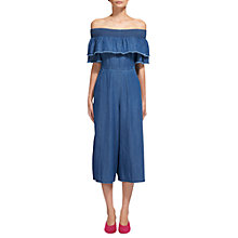 Buy Whistles Nadia Denim Frill Jumpsuit, Denim Online at johnlewis.com