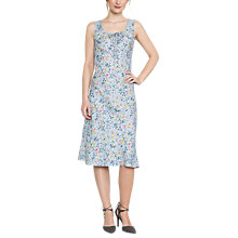 Buy East Lavina Print Linen Dress, Dove Online at johnlewis.com