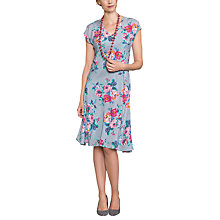 Buy East Valentina Print Pleat Silk Dress, Dove Online at johnlewis.com