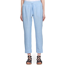 Buy Whistles Easy Linen Trousers, Blue Online at johnlewis.com