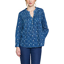 Buy East Neelam Pintuck Blouse, Indigo Online at johnlewis.com