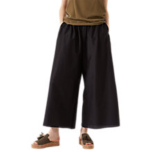 Buy Jigsaw Wide Leg Feather Trousers, Black Online at johnlewis.com