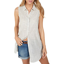 Buy Fat Face Mae Longline Shirt, Ivory Online at johnlewis.com
