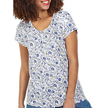 Buy Fat Face Tansy Trailing Woodblock Floral Print Top, Ivory Online at johnlewis.com