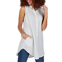 Buy Fat Face Mae Longline Shirt, White Online at johnlewis.com