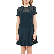 Buy Ted Baker Colour By Numbers Deidre Pleated Drop Hem Dress, Navy Online at johnlewis.com