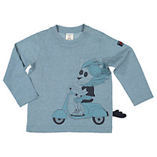 Buy Polarn O. Pyret Baby Scooter Lion Long Sleeve T-Shirt, Blue Online at johnlewis.com