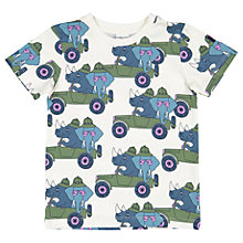 Buy Polarn O. Pyret Children's Safari Print T-Shirt, Cream Online at johnlewis.com