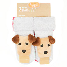 Buy John Lewis Baby Dog Rattle Socks, Pack of 2, Multi Online at johnlewis.com