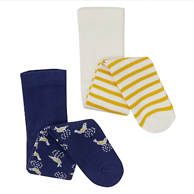 Product photo of John lewis baby cotton rich bird and stripe tights pack of 2 multi