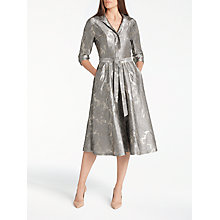 Buy Bruce by Bruce Oldfield Jacquard Floral Dress, Metallic Online at johnlewis.com