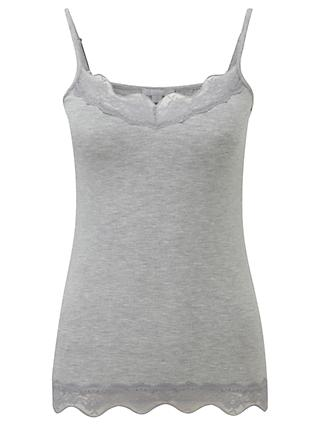 Pure Collection Lace Jersey Camisole, Grey Marl