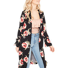 Buy Miss Selfridge Floral Duster Coat, Black Online at johnlewis.com