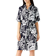 Buy Sugarhill Boutique Laria Palm Print Shirt Dress, Navy/White Online at johnlewis.com