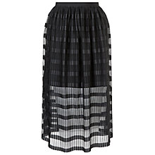 Buy Miss Selfridge Pleat Net Midi Skirt, Black Online at johnlewis.com