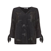 Buy Mint Velvet Floral Jacquard Blouse, Dark Grey Online at johnlewis.com