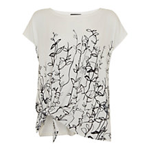 Buy Mint Velvet Dakota Print Knotted T-Shirt, White/Black Online at johnlewis.com