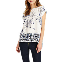 Buy Phase Eight Fonda Floral Print Top, Blue/White Online at johnlewis.com