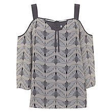 Buy Mint Velvet Tess Print Cold Shoulder Camisole, Oyster/Smoke Grey Online at johnlewis.com