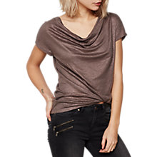 Buy Mint Velvet Shimmer Cowl Neck Linen T-Shirt Online at johnlewis.com