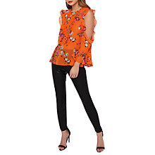 Buy Miss Selfridge Floral Print Frill Cold Shoulder Blouse, Orange Online at johnlewis.com