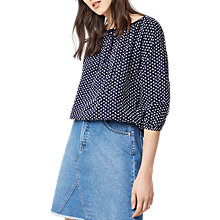 Buy Warehouse Broderie Blouson Top, Navy Online at johnlewis.com