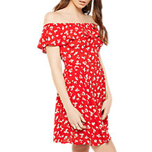 Buy Miss Selfridge Floral Print Bardot Skater Dress, Red Online at johnlewis.com