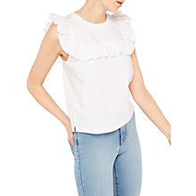 Buy Miss Selfridge Poplin Ruffle Shell Top, White Online at johnlewis.com