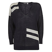 Buy Mint Velvet Stripe V-Neck Boxy Knit Linen Jumper, Navy Online at johnlewis.com