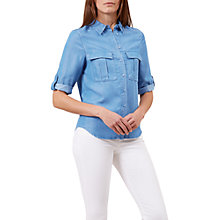 Buy Hobbs Chambray Shirt, Blue Online at johnlewis.com