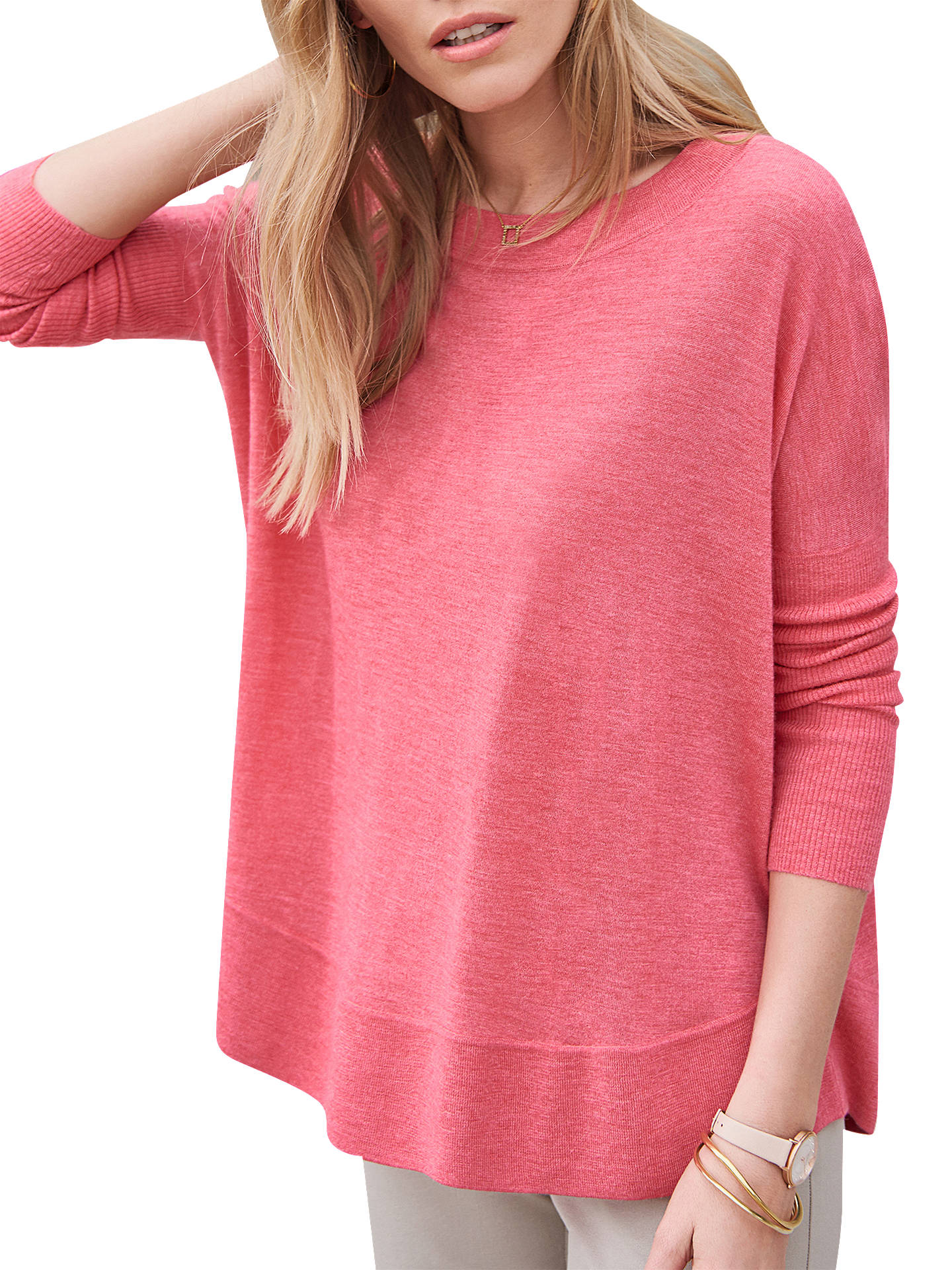 Pure Collection Featherweight Curved Hem Cashmere Jumper at