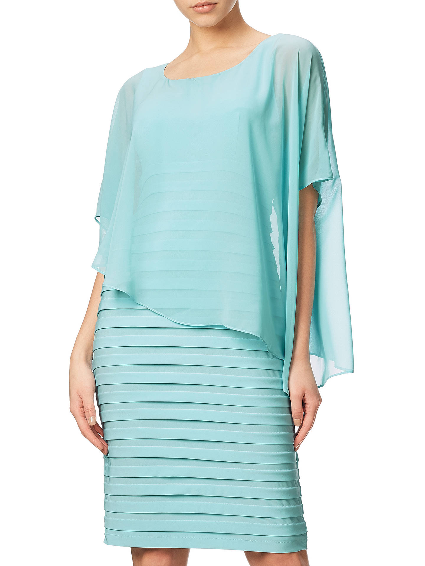 39e4f656f846 Buy Adrianna Papell Banded Dress With Chiffon Overlay, Sky, 8 Online at  johnlewis.